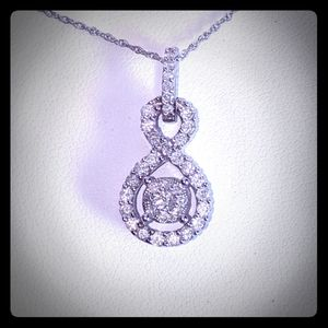 Sterling Silver Infinity Diamond Necklace
